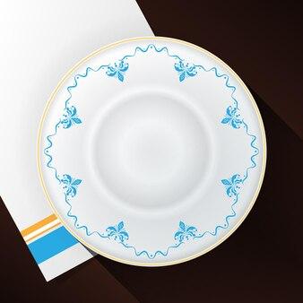 Plaque blanche avec un motif bleu et une bordure dorée sur une serviette blanche. illustration vectorielle.
