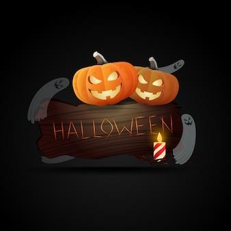 Plaque en bois avec l'inscription halloween