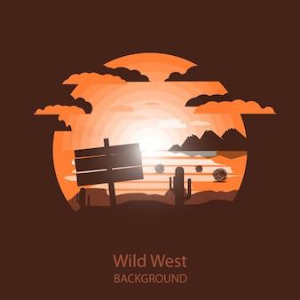 Plaque en bois de paysage de l'ouest sauvage dans le désert sec.