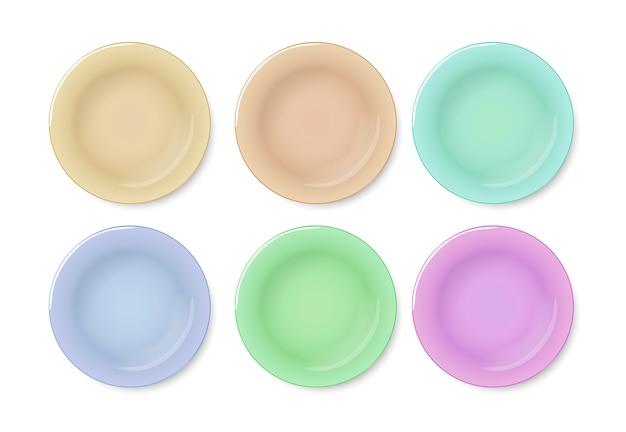 Plaque colorée vue de dessus sur blanc