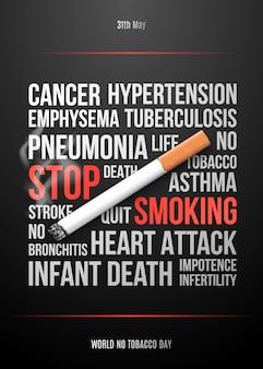 Plaque de concept de soins de santé avec cigarette réaliste.