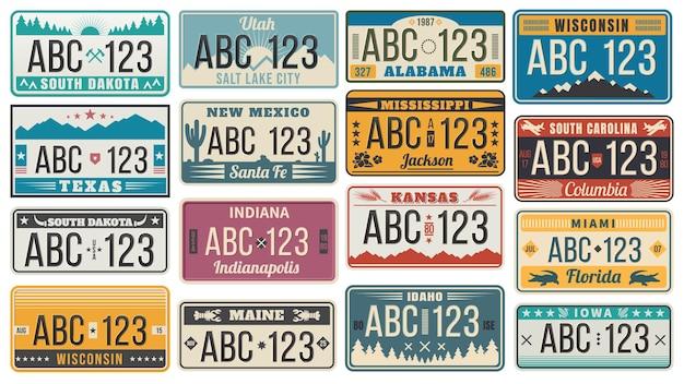 Plaque d'immatriculation du numéro de voiture. signes de numéro d'immatriculation de voitures rétro usa, jeu d'illustration de plaques d'immatriculation du texas, du wisconsin et du kansas.
