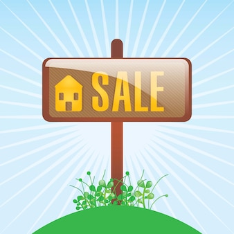 Plaque de la maison à vendre sur illustration vectorielle fond bleu
