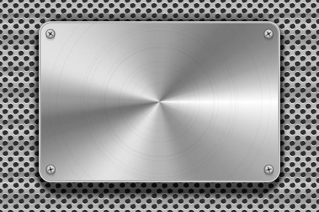 Plaque en métal poli avec vis sur grille, fond industriel