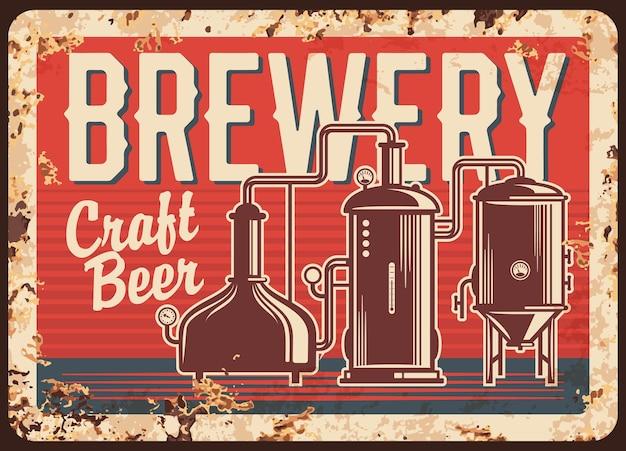Plaque de métal rouillé de la brasserie de bière artisanale