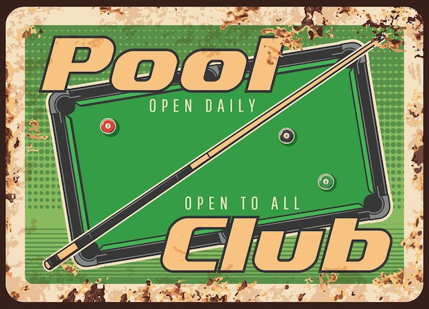 Plaque de métal rouillé de club de piscine