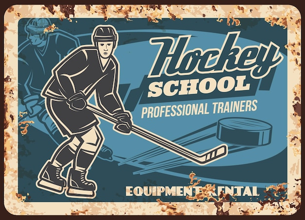Plaque de métal rouillé pour entraîneur d'école de hockey sur glace