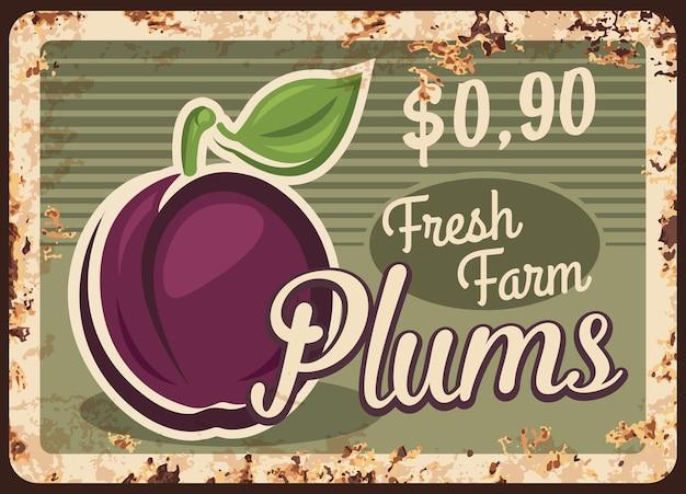Plaque de métal rouillé de prunes, signe d'étain de rouille vintage avec des fruits mûrs du jardin
