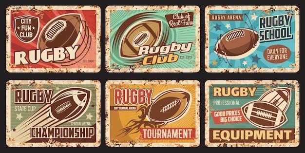Plaque de métal rouillé de sport de rugby, tournoi de ville ou championnat. sport