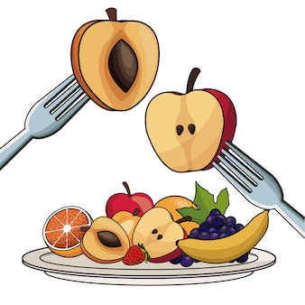 Plaque avec nutrition des fruits avec fourchette et couteau