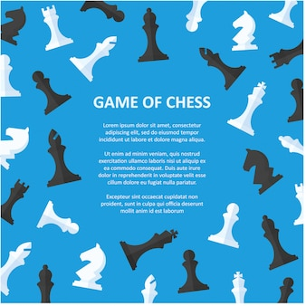 Plaque de pièces d'échecs avec fond