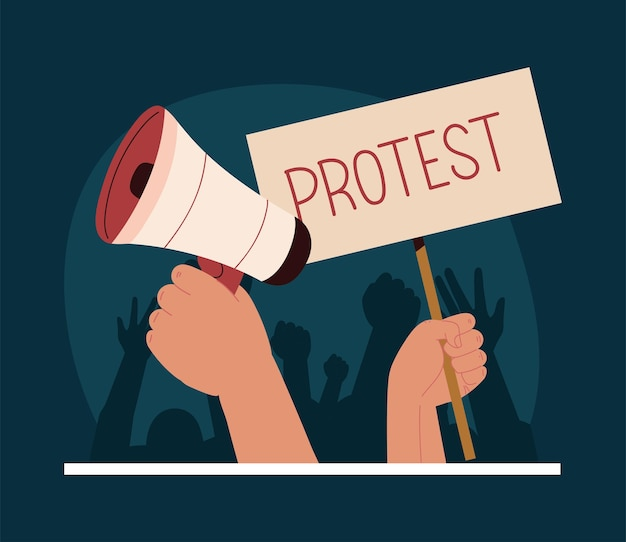 Plaque de protestation et conférencier