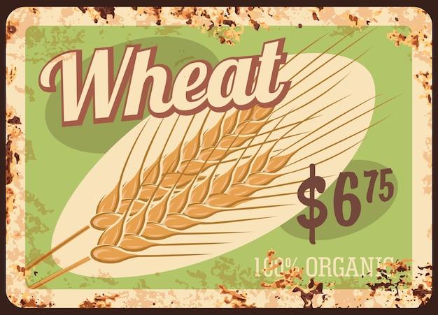Plaque rouillée en métal de blé, céréales et menu de prix des aliments céréaliers