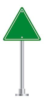 Plaque de rue triangulaire. symbole de route autoroute verte isolé sur fond blanc.