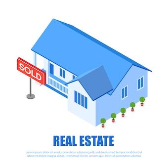 Plaque signalétique de l'immobilier vendu vector illustration.