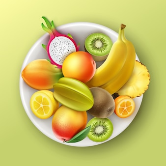 Plaque de vecteur pleine d'ananas de fruits tropicaux, kiwi, mangue, papaye, banane, fruit du dragon, pêche, vue de dessus de citron kumquat isolé sur fond