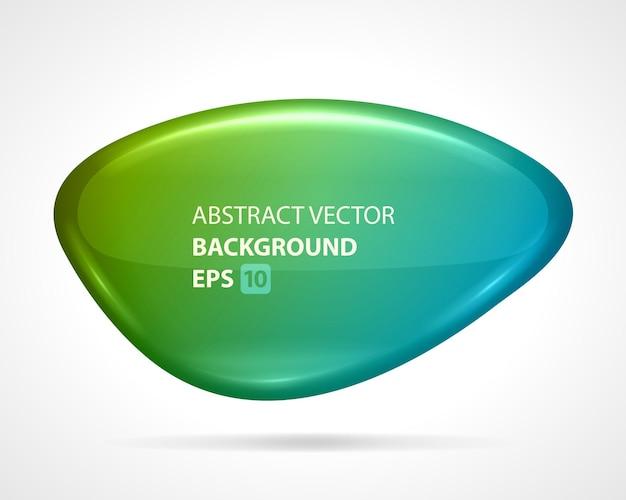 Plaque de verre abstraite. figure futuriste verte avec surface liquide brillante.