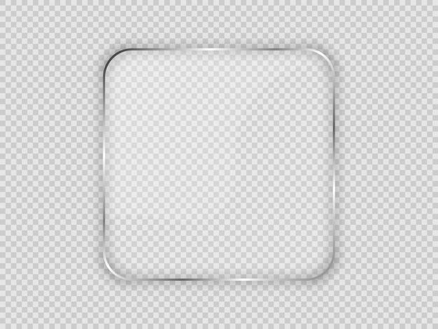 Plaque de verre dans un cadre carré arrondi isolé sur fond transparent. illustration vectorielle.