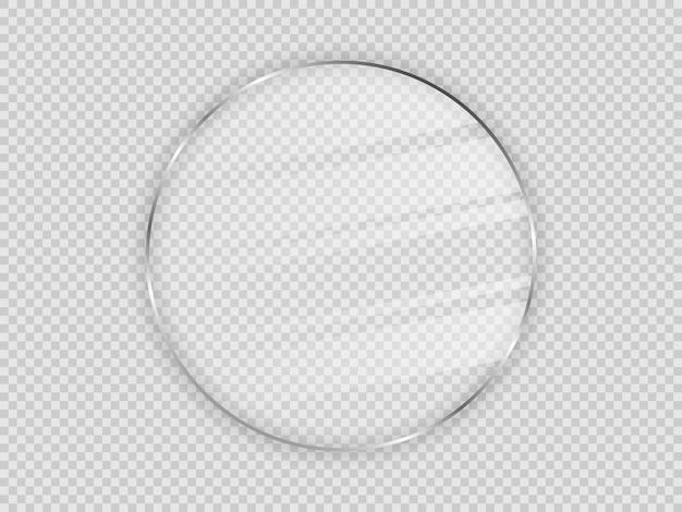 Plaque de verre dans un cadre circulaire isolé sur fond transparent. illustration vectorielle.
