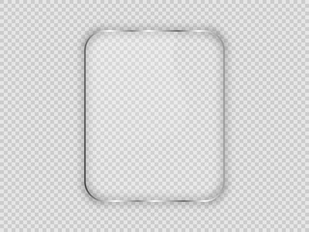 Plaque de verre dans un cadre vertical arrondi isolé sur fond transparent. illustration vectorielle.