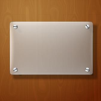 Plaque de verre dépoli de vecteur pour vos signes, sur bois.