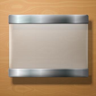 Plaque de verre dépoli de vecteur avec supports métalliques, pour vos signes, sur bois.