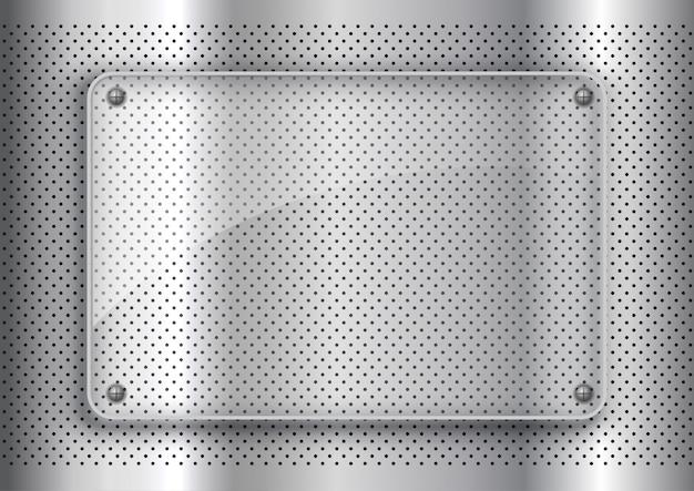 Plaque de verre sur fond de métal perforé
