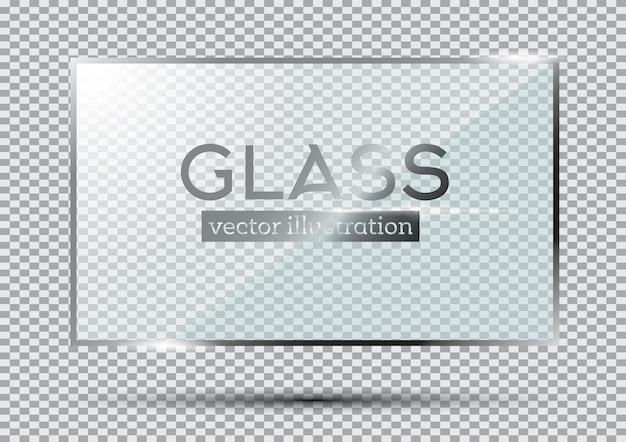 Plaque de verre isolée sur fond transparent. illustration vectorielle.
