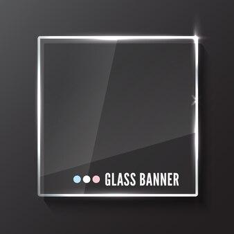Plaque de verre avec reflet et ombre isolé sur fond gris foncé. réaliste.