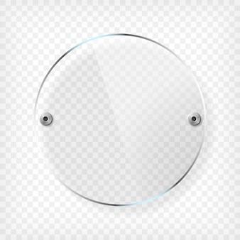 Plaque de verre ronde transparente avec reflet et ombre