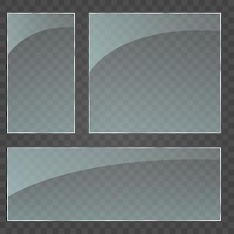Plaque de verre . texture acrylique et verre avec reflets et lumière. fenêtre en verre isolée