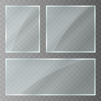 Plaque de verre. texture acrylique et verre avec reflets et lumière. fenêtre en verre transparent réaliste dans un cadre rectangle. vecteur