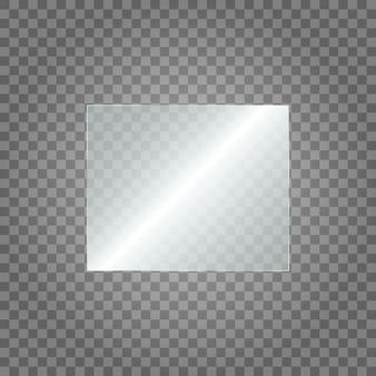 Plaque de verre sur transparent. texture acrylique et verre avec reflets et lumière. fenêtre en verre transparent réaliste dans un cadre rectangulaire.