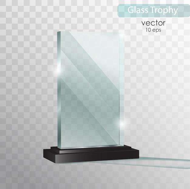 Plaque de verre. trophée de verre.