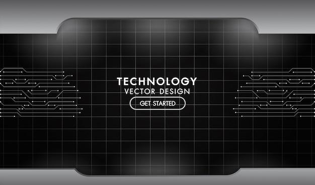 Plaques en acier en aluminium de texture de réseau de technologie de fond en métal noir et gris avec éclairage