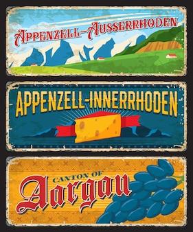 Plaques de canton suisses, bannières vintage vectorielles