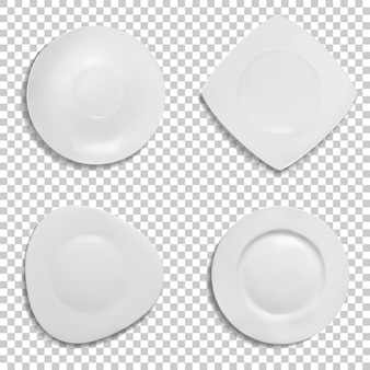 Plaques illustration de différentes formes. modèles 3d isolés de céramique