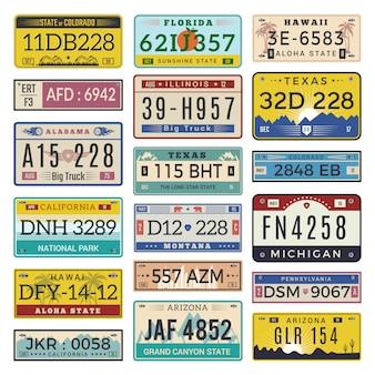 Plaques d'immatriculation de voiture. lettres de modèle de numéros d'immatriculation automobile