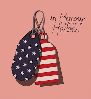 Plaques en métal avec drapeau usa du jour du mémorial