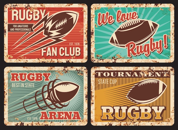 Plaques de métal rouillé de rugby, cartes vintage avec balle en mouvement et trail. équipement sportif de football américain