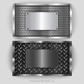 Plaques métalliques argentées emballent