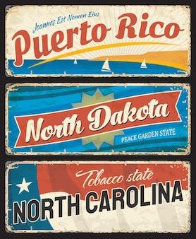Plaques métalliques de porto rico, du dakota du nord et de la caroline du nord