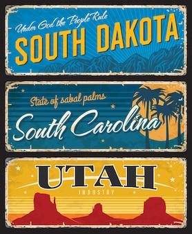 Les plaques minables de l'utah, du dakota du sud et de la caroline