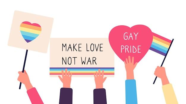 Plaques de parade gay. les mains tiennent des drapeaux arc-en-ciel, des coeurs et des inspirations de texte.
