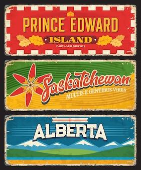 Plaques des provinces et régions canadiennes de l'île-du-prince-édouard, de la saskatchewan et de l'alberta