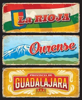 Plaques des provinces de la rioja, ourense et guadalajara