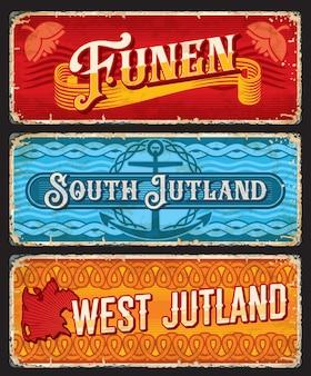 Plaques rétro funen, sud et ouest jutland danemark