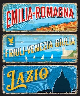 Plaques rouillées des régions émilie-romagne, frioul-vénétie julienne et latium italie