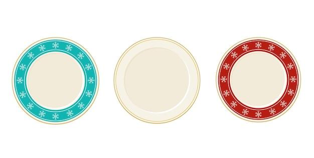 Plaques vectorielles vides en vue de dessus de style dessin animé avec des flocons de neige. éléments de conception de vaisselle
