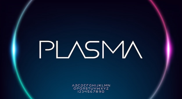 Plasma, une police d'alphabet science technologie abstraite. typographie de l'espace numérique, police de caractères moderne large et mince